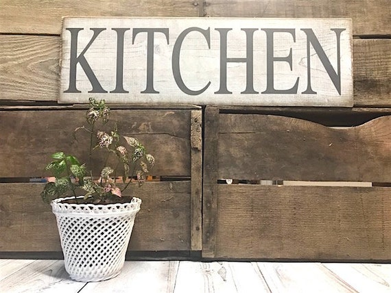 Kitchen Signs Decor Farmhouse White Rustic Home Decor Shabby Chic Distressed Kitchen Wall Decor French Country Gray Kitchen Wall Decor