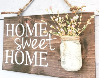 Home Sweet Home Wood Sign, rustic front door sign decor, Home Gift, Outdoor signs for house & home, front porch wood sign