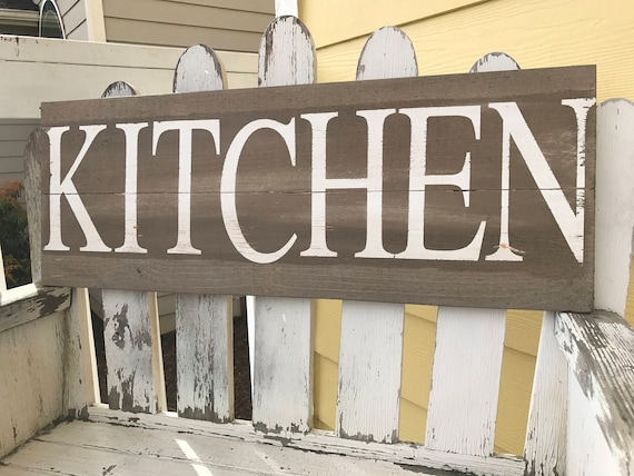Superbe Rustic Kitchen Sign Home Decor Cottage Chic Gray Kitchen Sign | Etsy