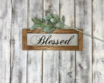 Christian Wall Art- Blessed Sign - Rustic Home Decor - Farmhouse Decor - Farmhouse Style - Rustic Wall Hangings - Rustic Signs