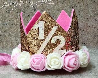 HALF Birthday Crown 1 2 6 Month Girl Party Hat Glitter Floral Flower Baby Smash Cake