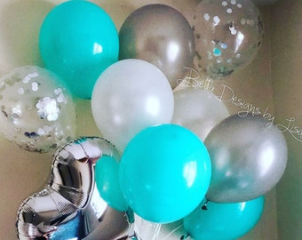 10pc teal balloons turquoise robins egg bridal shower balloon sweet16 birthday party balloon confetti balloon and co theme shower decoration