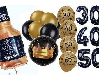 12PC WHISKEY Bottle Balloon 32 Aged To Perfection Mens Birthday Adult Party 21st 30th 40th 50th 60th Over The Hill