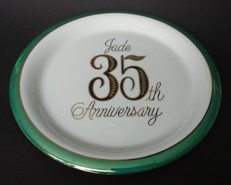 Vintage Jade Anniversary Plate 15 35th Wedding Celebration Etsy