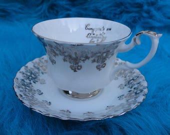 Vintage Royal Albert 25th Anniversary Bone China Teacup and Saucer, England
