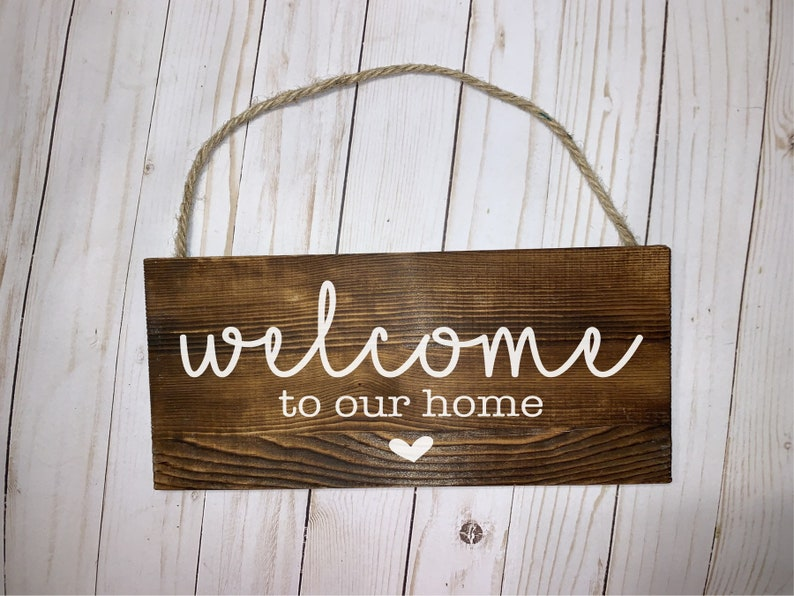 Welcome To Our Home Wood Sign Wood Signs Wood Plaque Custom image 0