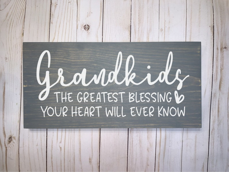 Grandkids the Greatest Blessing Wood Sign Wood Signs Wood image 0
