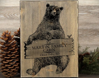 """Personalized Cabin Sign, Cabin Decor, Bear Sign, Rustic Sign, Rustic Home Decor, Family Cabin Sign, Housewarming Gift, 12"""" x 16"""""""
