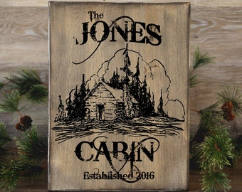 """Family Cabin Sign, Personalized Cabin Sign, Cabin Decor, Rustic Sign, Rustic Home Decor, Housewarming Gift, 12"""" x 16"""""""