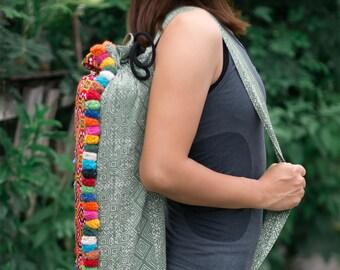 Ethnic Yoga Mat Bag, Hemp Yoga Sling Bag, Pom Pom Yoga Mat Carrier, Gift For Yoga Lover, Fair Trade Pilates Bag - BG519BAGRE