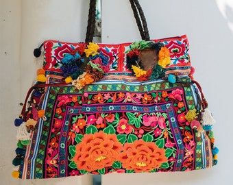 73120cef6 Hmong Tote Bag, Embroidered Large Tote with Colorful Pom Pom, Fair Trade  Boho Beach Tote, Bohemian Tote with Floral - BG0033-02-BLA