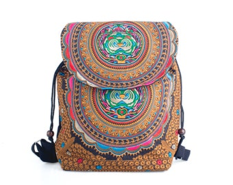 38f19dee4 School Backpack With Hmong Embroidered Handmade Thailand Fair Trade  (BG317C1)