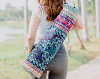 Ethnic Yoga Mat Bag with Diamond Hmong Hill Tribe Embroidered in Blue, Handcrafred Fair Trade Yoga Mat Bag for Yogi - BG316BLUDIA