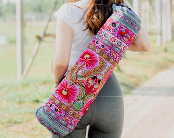 Handmade Yoga Mat Bag Hmong Embroidered Fair Trade in Purple, Floral Yoga Mat Bag from Thailand, Yoga Mat Bag for Women - BG316PURH
