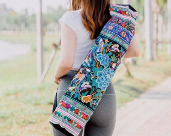 Handcrafted Yoga Bag for Mat, Hmong Embroidered Yoga Mat Bag for Women, Gift for Yoga Lover, Blue Yoga Mat Bag from Thailand - BG316CG