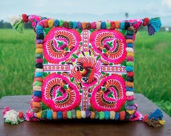 Fair Trade Pillow Ethnic Pillow Boho Pillow Changnoi 18x18 Pom Pom Hmong Embroidered Pillow Cases Unique Gift Bohemian Cushion
