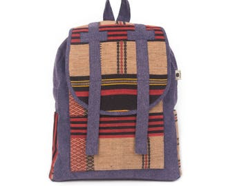 77178b181e Purple Unique Fair Trade Backpack with Hmong Hill Tribe Woven Cotton Fabric  - BG513NAPUR