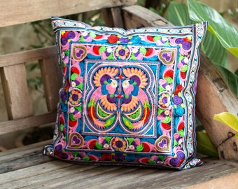 Unique Throw Pillow Cover One of a Kind Mocha Bird Tribal Hmong Embroidered