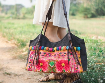72e2740942 Beautiful Yellow Flower Artisan Beach Tote Shoulder Bag with Tribal Hmong  Embroidered