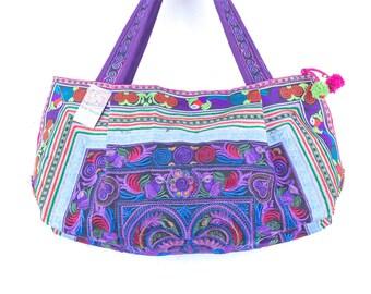 f92d62539cfdc Lila Vögel Hill Tribe Schultertasche Tasche von Thai Hmong-Fair-Trade  (BG309PURB. FS)