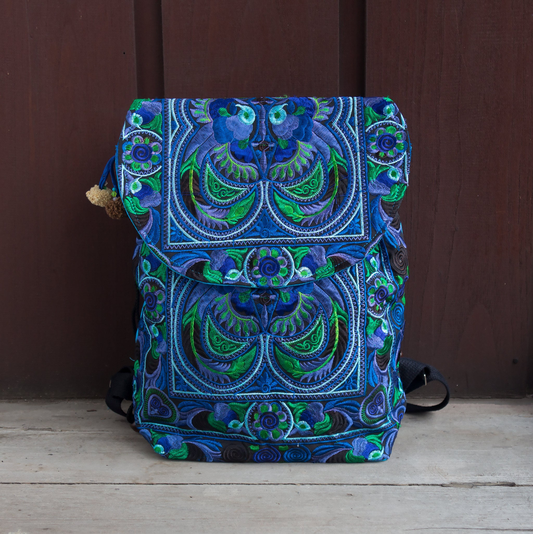 810524ff16 Blue Bird Fair Trade Backpack Bookbag with Hmong Hill Tribe