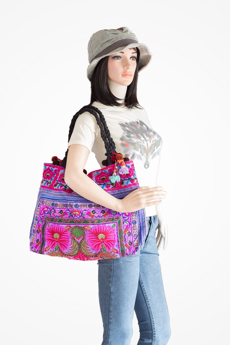 Purple Flowers Hill Tribe Tote Bag Large Size Made By Hmong Thailand Fair Trade BG302PURH
