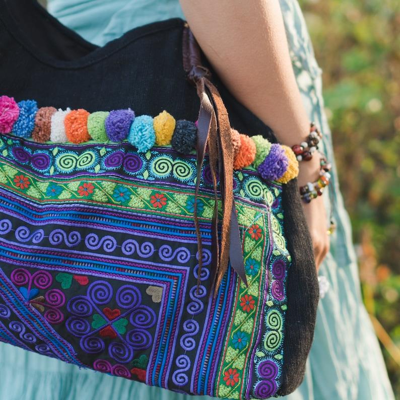 Purple Diamond Tote Bag with Hmong Embroidered Bohemian Bag Boho Shoulder Bag BG518DIAPUR Pom Pom bag Beach Bag for Women