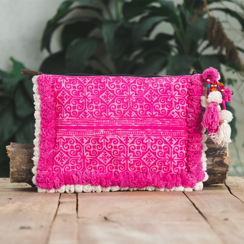 Changnoi Blue Silk Worm Handmade Pom Pom Clutch Bag with Hmong Hill Tribe Embroidery