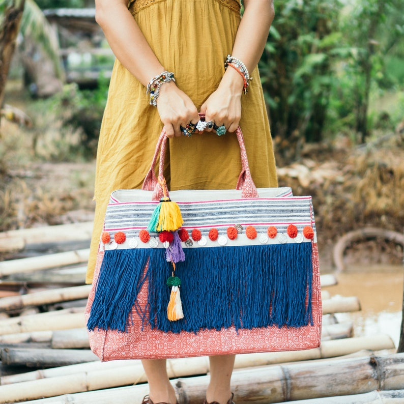 Fringe Beach Women s Tote Bag with Hmong Hill Tribe Batik  a08938143aaad