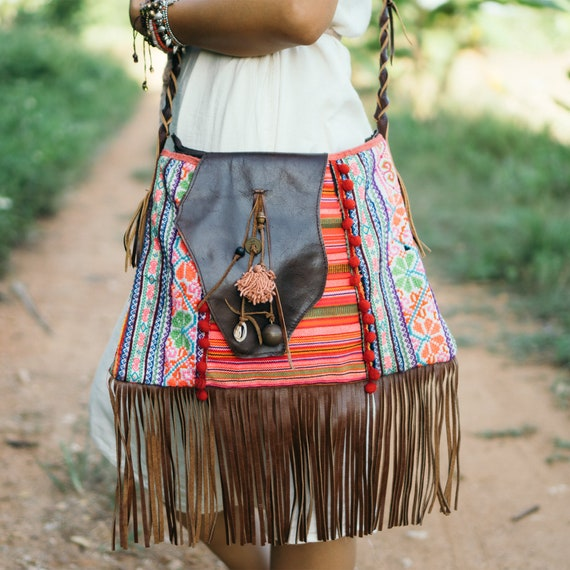 Unique Bohemian Fringe Crossbody Bag Hmong Hill Tribe  7c4a6dee945ef