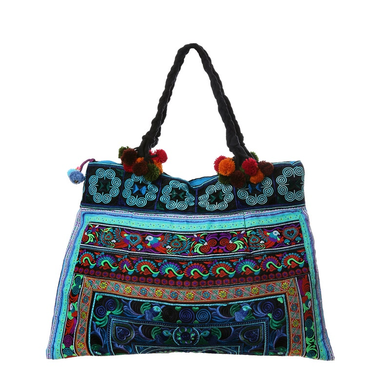 Beach Tote Bag for Women Blue Bird Hmong Tribe Embroidered Tote Bag Large Size with Pom Pom Straps BG301BLUB Bohemian Tote Bag