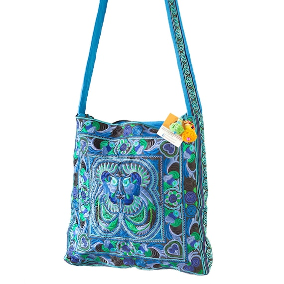 Blue Birds Hill Tribe Shoulder Bag with Hmong Embroidered Fabric Fair Trade