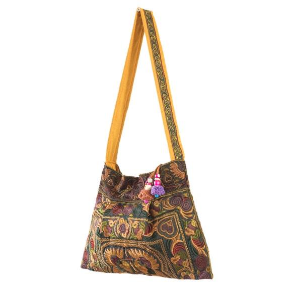 0aabd2e5214b Mocha Bird Hmong Bag Hill Tribe Tote Bags Mini Size Fair Trade