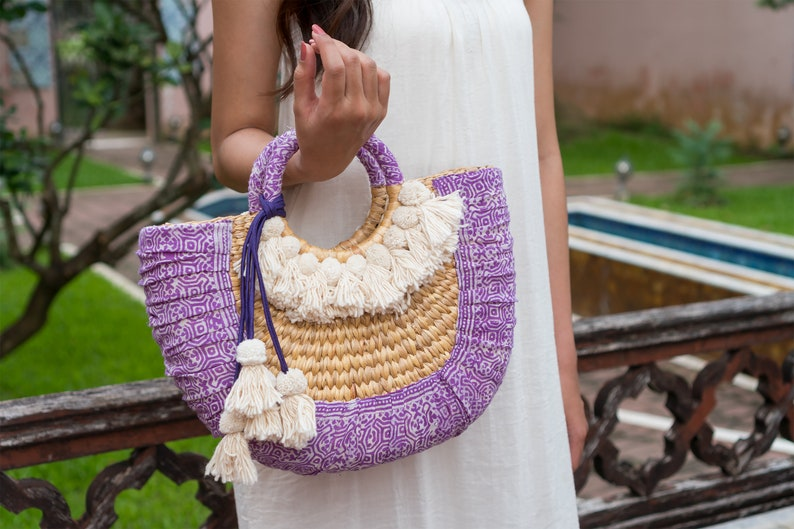 Summer Beach Basket Bag TANGMO Purple Straw Bag with Hmong Hill Tribes Batik Fabric Decorated with White Pom Pom BG0044-00-PUR Tassels