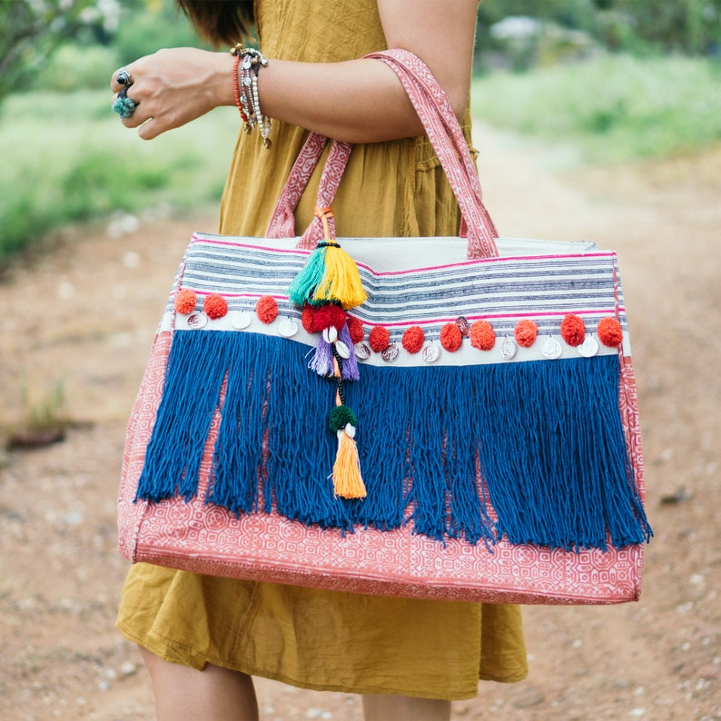 BG0013-00-RED Blue Tassels Fringe Beach Women/'s Tote Bag with Hmong Hill Tribe Batik Fabric Coin and Pom Poms Handcrafted Ethnic Bag