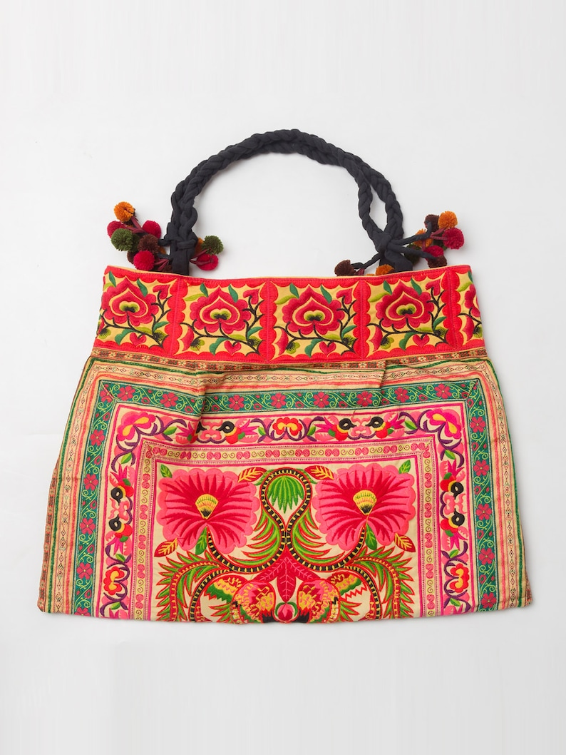 Orange Large Tote Bag Hmong Garden Embroidered Thailand  d294ac958c0cd