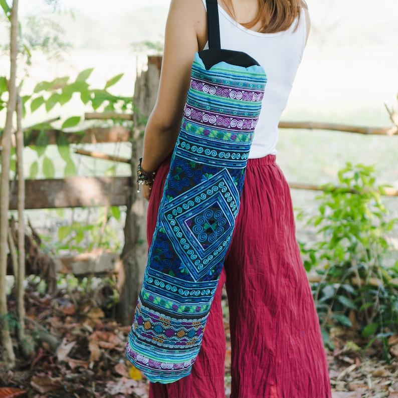 BG316BLUDIA Handcrafred Fair Trade Yoga Mat Bag for Yogi Ethnic Yoga Mat Bag with Diamond Hmong Hill Tribe Embroidered in Blue
