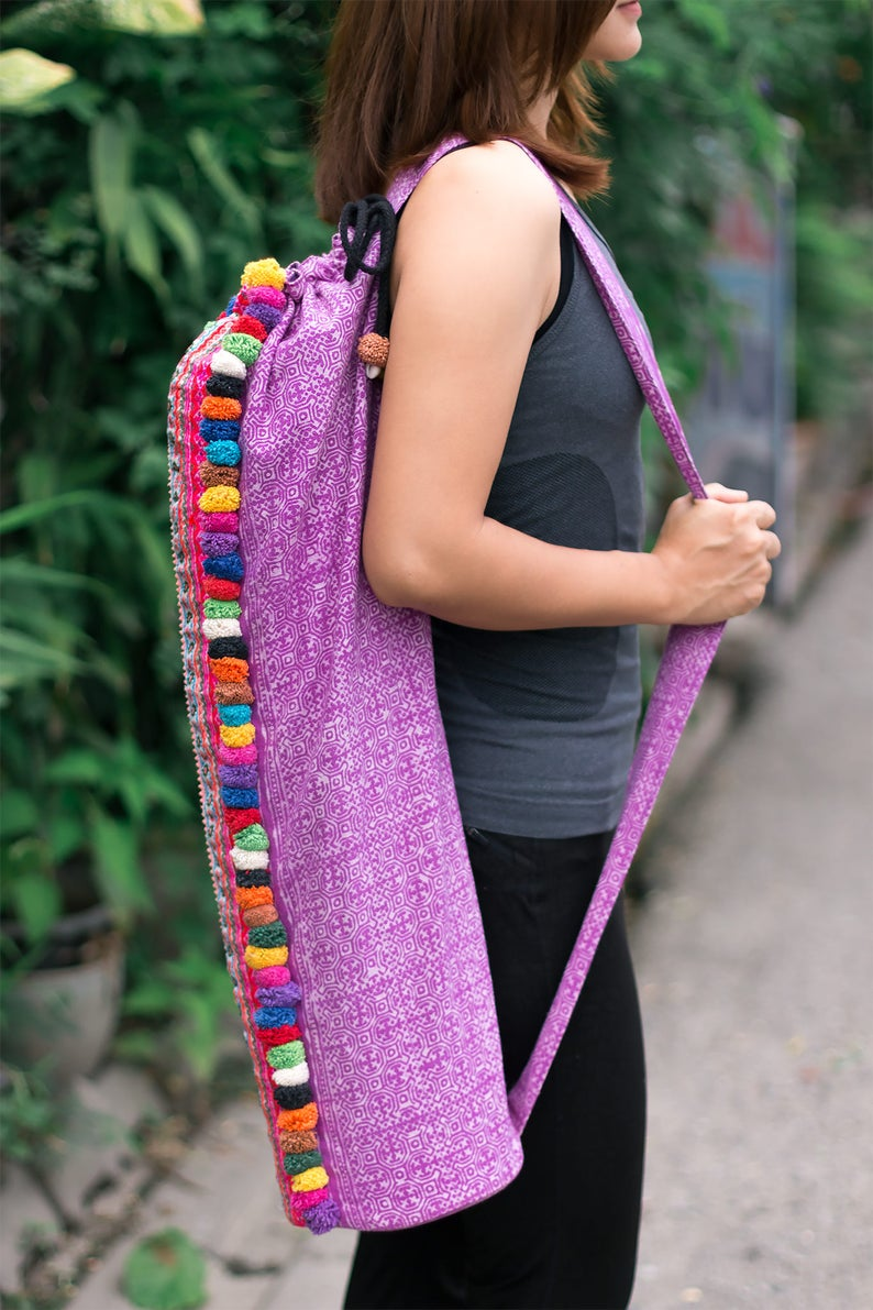Unique Embroidered Yoga Mat Bag with Colorful Pom Pom Fair Trade Yoga Mat Carrier Handcrafted Tribal Yoga Sling in Purple BG519BAPUR
