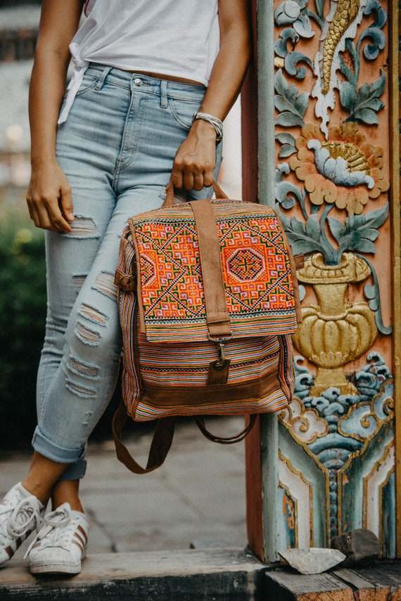 Handcrafted Backpack With Vintage Hmong Embroidered Fabric, One Of A Kind Bookbag, Ethnic Backpack, Tribal Backpack   Bg0031 00 Bro by Etsy