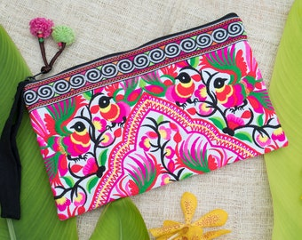 Peacocks Pink Embroidered Hmong Tribes Clutch Bag for Women, Ethnic Clutch Bag, Boho Clutch Bag, Festival Purse, Unique Gifts - BG308WHIP