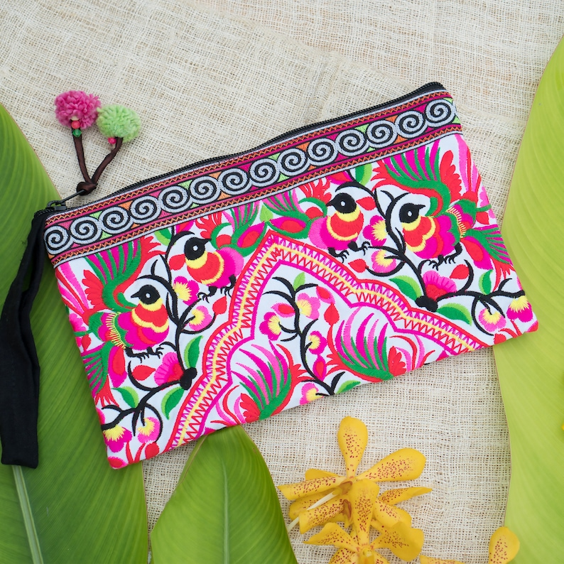 Peacocks Pink Embroidered Hmong Tribes Clutch Bag for Women image 0