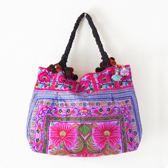 Purple Flowers Hill Tribe Tote Bag Large Size Made By Hmong  7e0ccce0ef448