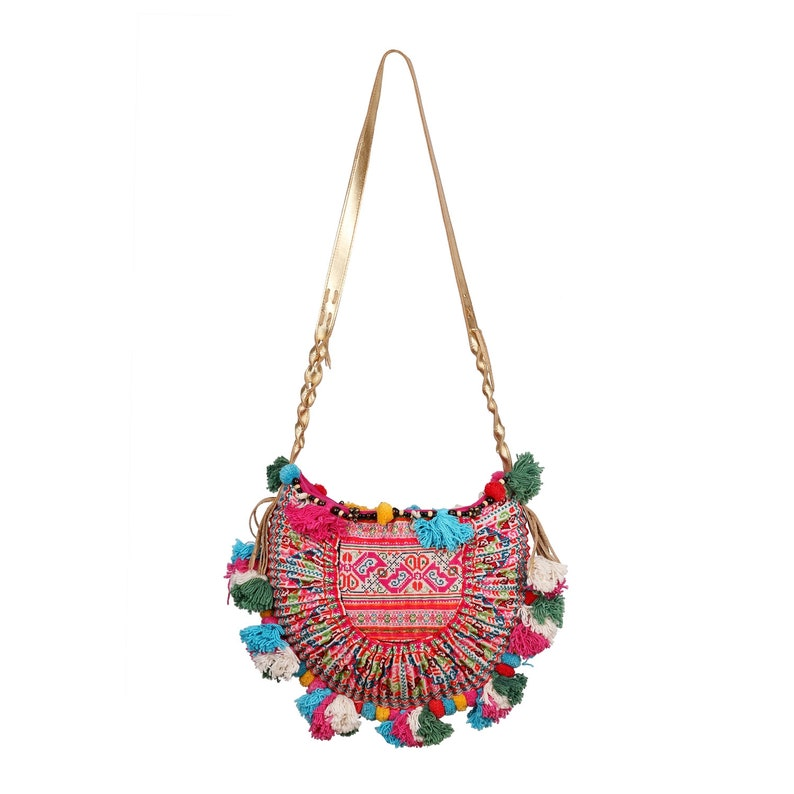 Bohemian Colorful Crossbody Bag Embroidered with PomPom