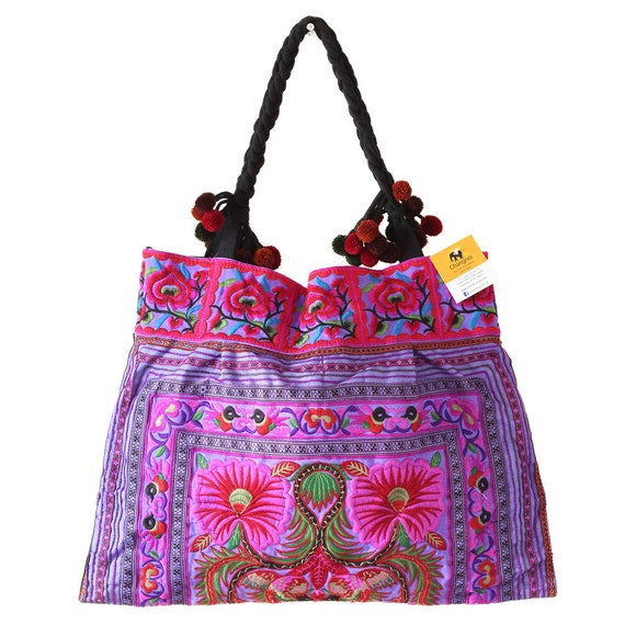 Purple Flowers Hill Tribe Tote Bag Large Size with Hmong  f3ad964690968