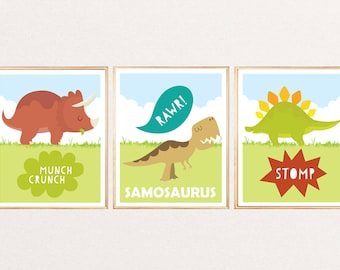3 Personalised Dinosaur Name Prints Pictures for Baby Kids bedroom Nursery Wall Art Room Decor Unframed. Trex Stegosaurus Triceratops