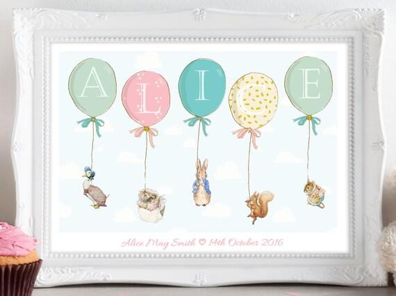 Personnalisé Plaque New Baby Peter Rabbit naissance baptême Nurserie SIGNE chambre à coucher