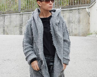 Gray Cardigan / Hooded Coat / Wool Coat / Winter Cardigan / Hooded Cardigan / Extravagant Top / Hooded Jacket / Coat / CARAMELfs T22517