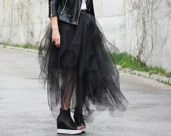 Tulle skirt women/ Wedding tutu/ Bachelorette skirt/ Bridesmaid skirt/ Black skirt engagement/ Maxi tulle skirt/ Long fluffy skirt/ Skirts