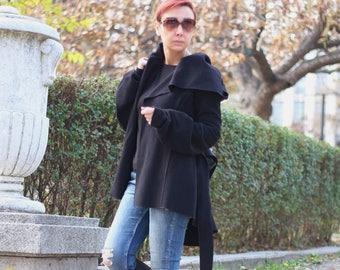 Trench coat with Hood / Short Coat / Hooded Coat / Asymmetric Wool Coat / Casual Wool Jacket / Black Jacket T60151