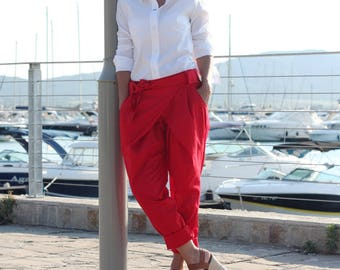 Casual Pants for Women / Red Wrap Pants / Loose Cotton Pants / 4 pockets / Wide-leg Pants / Baggy Pants / Cropped Trousers P21217